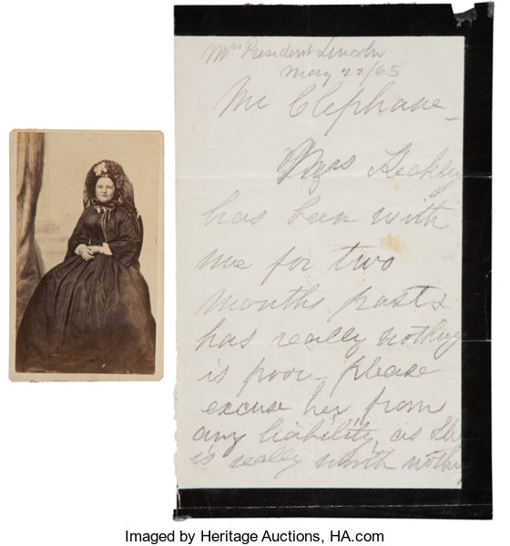 AutographsUS Presidents Mary Todd Lincoln Autograph Letter Signed With Carte DeVisite And Elizabeth