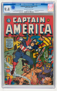 Captain America Comics #15 (Timely, 1942) CGC NM 9.4 Off-white to white pages