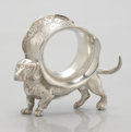 Silver & Vertu:Hollowware, AN AMERICAN FIGURAL SILVER PLATE NAPKIN RING. Maker unknown, circa 1870. Unmarked. 3-7/8 x 3-3/4 x 1-1/2 inches (9.8 x 9.5 x...
