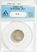 Early Dimes: , 1798/97 10C 16 Stars on Reverse Good 4 ANACS. JR-1. NGC Census:(1/43). PCGS Population (0/61). Mintage: 27,550. Numismedi...