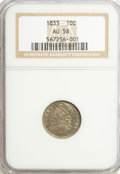 Bust Dimes: , 1833 10C AU58 NGC. NGC Census: (42/149). PCGS Population (27/103).Mintage: 485,000. Numismedia Wsl. Price for problem free...