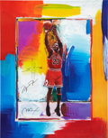 Autographs:Others, Late 1990's Michael Jordan Signed Peter Max Lithograph with Remarque....