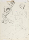 Pin-up and Glamour Art, AL BUELL (American, 1910-1996). Study of Two Pin Ups. Pencilon paper. 19.5 x 14.5 in.. Signed lower right. ...