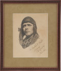"Autographs:Celebrities, Charles Lindbergh Signed Original Drawing in Pencil, inscribed""Franklin B. Frost / Sincerely C.A. Lindbergh / Feb 6,1928..."