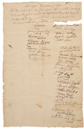 Autographs:Military Figures, [Revolutionary War]. Siege of Boston 1775 Manuscript DocumentSigned by Thirty-four Soldiers of Captain Luke Drury's Company....
