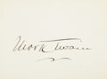 """Autographs:Authors, Mark Twain Signed Card. One page, 3.5"""" x 2.5"""", n.d., n.p., oncardstock. Boldly signed in ink...."""