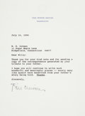 "Autographs:U.S. Presidents, William Jefferson Clinton Typed Letter Signed on White House letterhead. One page, 6.75"" x 8.75"", [Wahsington], July 16, 199..."
