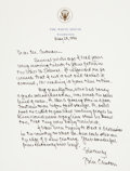 "Autographs:U.S. Presidents, William Jefferson Clinton Autograph Letter Signed as President. Onepage on embossed White House letterhead, 6.75"" x 9"", Was..."