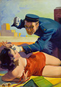 Pulp, Pulp-like, Digests, and Paperback Art, HUGH JOSEPH WARD (American, 1909-1945). Romantic Detective, pulpcover, August 1938. Oil on canvas. 30 x 21 in.. Not sig...