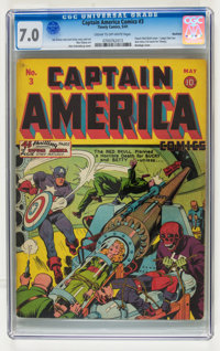 Captain America Comics #3 Rockford pedigree (Timely, 1941) CGC FN/VF 7.0 Cream to off-white pages