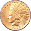 Indian Eagles, 1907 $10 Wire Rim MS63 PCGS....