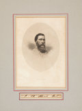 """Autographs:Military Figures, Confederate General John Bell Hood Signature, """"J. B. Hood Genl."""", 3.75"""" x .5"""", along with a toned image of the Texas Con..."""