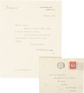 """Autographs:Non-American, Winston Churchill Typed Letter Signed """"Winston S.Churchill"""". One page, 7.5"""" x 9.25"""", July 10, 1957, """"28, HydePark Ga..."""