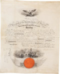 """Autographs:U.S. Presidents, Abraham Lincoln Naval Appointment Signed """"Abraham Lincoln"""".One vellum page, 15.5"""" x 19.5"""", Washington, May 18, 1864, an..."""