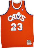 Basketball Collectibles:Uniforms, LeBron James Signed UDA Throwback Jersey....