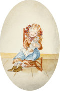 Books:Children's Books, Tasha Tudor, illustrator. Original Signed Watercolor. Measuresapproximately 8 x 10 inches, matted to an oval-shaped visible...