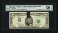 Error Notes:Ink Smears, Fr. 1977-G $5 1981A Federal Reserve Note. PMG Choice About Unc 58EPQ.. ...