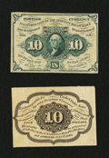 Fractional Currency:First Issue, Fr. 1243SP 10¢ First Issue Narrow Margin Pair About New.... (Total: 2 notes)