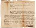 "Autographs:Statesmen, James Wilson Partly Printed Document Signed ""Wilson"" on theverso. Single sheet, 7.75"" x 6"", Cumberland County, circa 17..."
