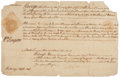 "Autographs:Statesmen, John Rutledge Manuscript Court Summons Signed Twice as attorney forthe petitioner. Single sheet docketed on verso, 13"" x 8...."