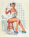 Pin-up and Glamour Art, JOYCE BALLANTYNE (American, 1918-2006). Bathing Pin-Up. Oilon canvas. 30 x 24 in.. Signed lower left. ...