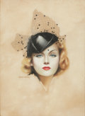 Pin-up and Glamour Art, CHARLES GATES SHELDON (American, 1889-1960). Carole Lombard,Motion Picture magazine cover, 1936. Pastel on board. 21.75...