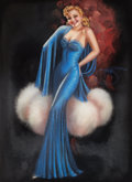 Pin-up and Glamour Art, BILLY DE VORSS (American, 20th Century). Pin-Up in Blue.Pastel on canvas. 37 x 27 in.. Signed center right. ...