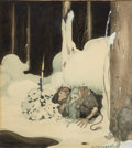 Mainstream Illustration, GUSTAF TENGGREN (American, 1896-1970). Elves by Candle.Watercolor on paper. 8.25 x 7.5 in.. Signed lower right. ...