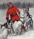Mainstream Illustration, HAL FOSTER (Canadian-American, 1892-1982). Royal CanadianMountie Dogs, Winter Scene. Oil on canvas. 37 x 32 in..Signed...