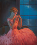 Pin-up and Glamour Art, GENE PRESSLER (American, b. 1893). Midnight and You. Pastelon canvas. 30 x 25 in.. Signed lower left. ...