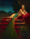 Pin-up and Glamour Art, EDWARD EGGLESTON (American, 1882-1941). Lady and Peacock.Oil on canvas. 36 x 27 in.. Signed lower left. ...