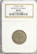 Colonials, 1764-A SOU M French Colonies Sou Marque MS65 NGC....