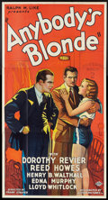 "Movie Posters:Drama, Anybody's Blonde (Action, 1931). Three Sheet (41"" X 81""). Drama.. ..."