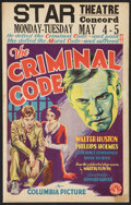 "Movie Posters:Drama, The Criminal Code (Columbia, 1931). Window Card (14"" X 22"").Drama.. ..."