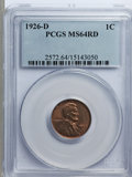 Lincoln Cents, 1926-D 1C MS64 Red PCGS....