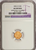 Gold Dollars, 1853-D G$1 --Improperly Cleaned--NGC. AU Details....