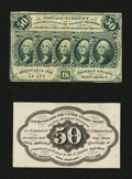 Fractional Currency:First Issue, Fr. 1313SP 50¢ First Issue Narrow Margin Pair About New.... (Total: 2 notes)
