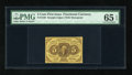 Fractional Currency:First Issue, Fr. 1230 5c First Issue PMG Gem Uncirculated 65 EPQ. A wonderfuland original example of this first issue type that has brig...