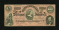 Confederate Notes:1864 Issues, T65 $100 1864. This is an example of the dark red variety. This example has a name penned within a back margin. Very Fine+...