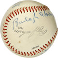 Autographs:Baseballs, New York Mets Old Timers Day Baseball Signed by 6. A half dozenbaseball stars have checked in on the International League...