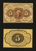 Fractional Currency:First Issue, Fr. 1231SP 5¢ First Issue Narrow Margin Pair About New.... (Total: 2 notes)