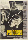 """Movie Posters:Hitchcock, Psycho (Paramount, 1960). Spanish One Sheet (27.5"""" X 39"""").. ..."""