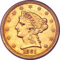 Liberty Quarter Eagles, 1861-S $2 1/2 AU53 PCGS....