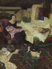 DEAN CORNWELL (American, 1892-1960) The Beautiful Mid-Wife, the Baby, and the Beautiful Mother, Good Housekeep