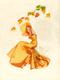 Pin-up and Glamour Art, GEORGE PETTY (American, 1894-1975). Autumn Winds, Old GoldCigarettes ad illustration, 1938. Watercolor on board. 30 x2...