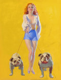 Pin-up and Glamour Art, EARL MORAN (American, 1893-1984). Pin-Up with Bulldogs, calendarillustration, 1937. Pastel on board. 42 x 31.5 in.. Not...