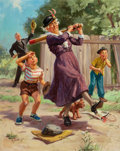 Mainstream Illustration, HY HINTERMEISTER (American, 1897-1997). Grandma Hits a HomeRun. Oil on canvas. 30 x 24 in.. Signed lower left. ...