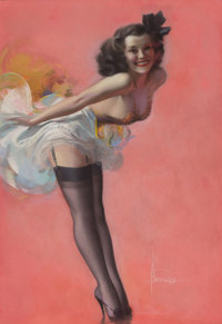 ROLF ARMSTRONG (American, 1889-1960) The Toast of the Town, 1943 Pastel on paper 41 x 28 in. S