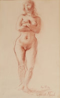 Fine Art - Work on Paper:Drawing, REGINALD MARSH (American, 1898-1954). Rita. Conti crayon onpaper. 18 x 10-3/4 inches (45.7 x 27.3 cm). Signed lower rig...