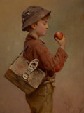 Fine Art - Painting, American:Antique  (Pre 1900), KARL WITKOWSKI (American, 1860-1910). Boy with an Apple. Oilon canvas. 15 x 11-1/4 inches (38.1 x 28.6 cm). Signed lowe...